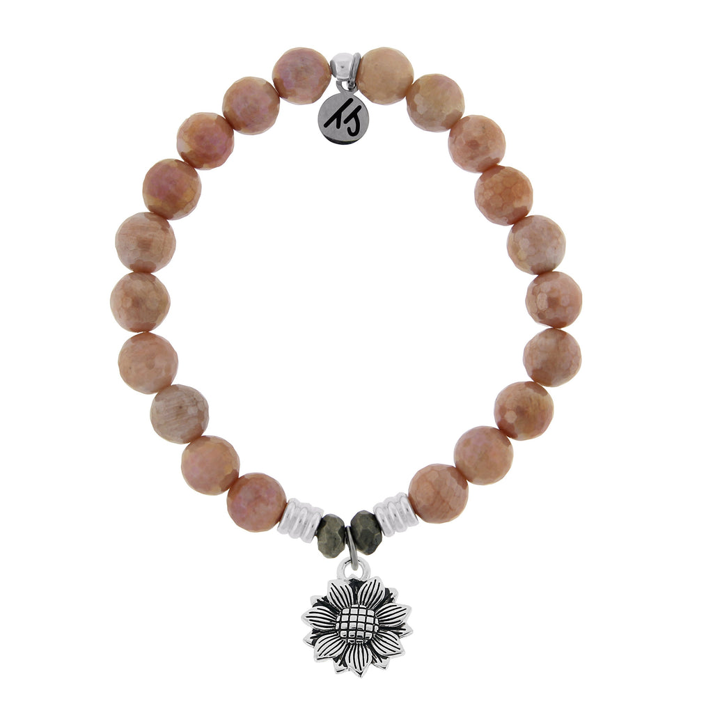 Orange Moonstone Stone Bracelet with Sunflower Sterling Silver Charm