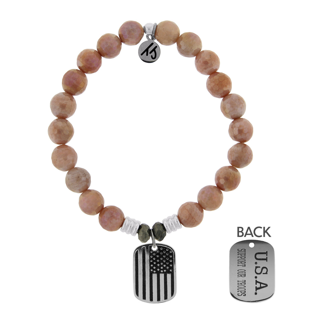 Orange Moonstone Stone Bracelet with Support Our Troops Sterling Silver Charm