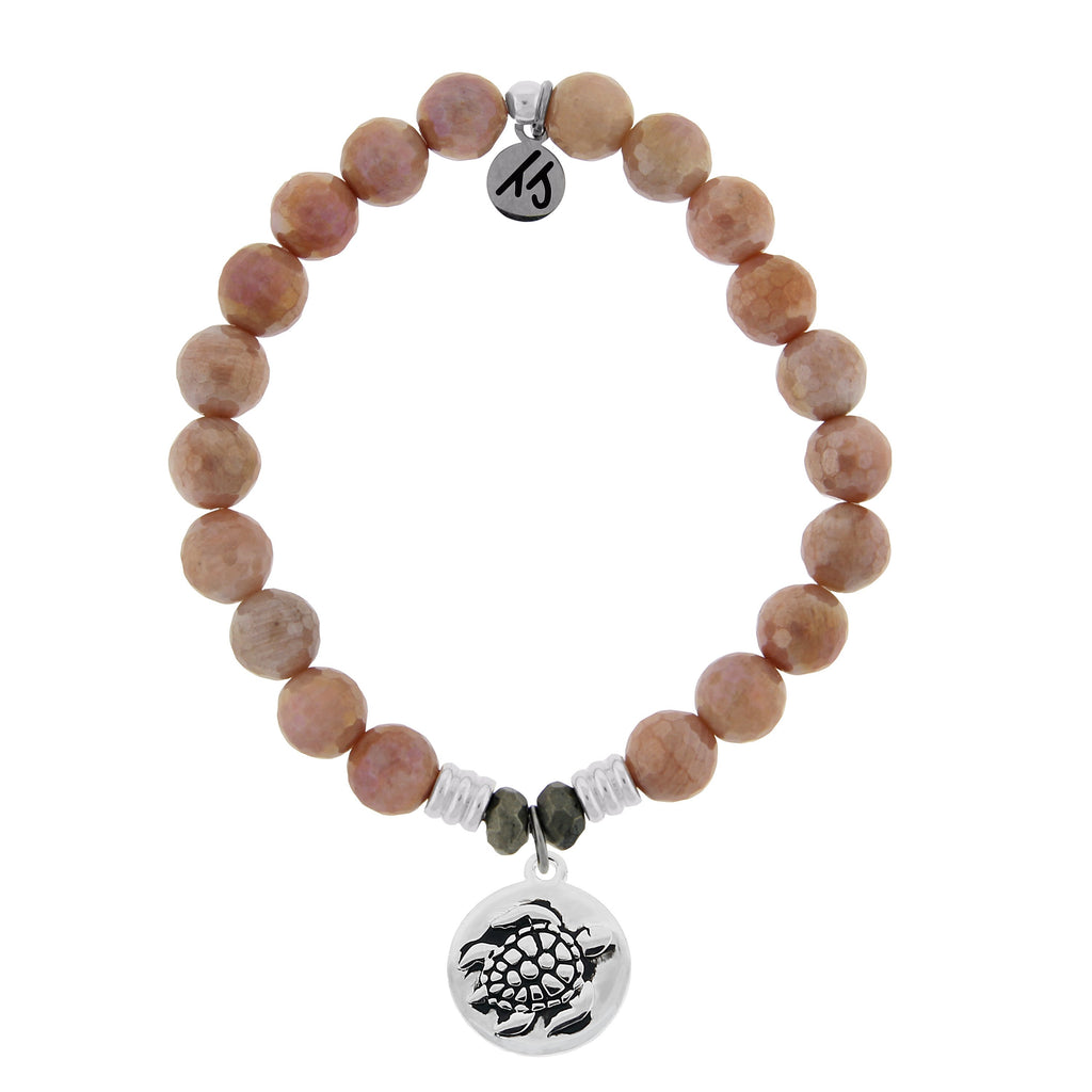 Orange Moonstone Stone Bracelet with Turtle Sterling Silver Charm