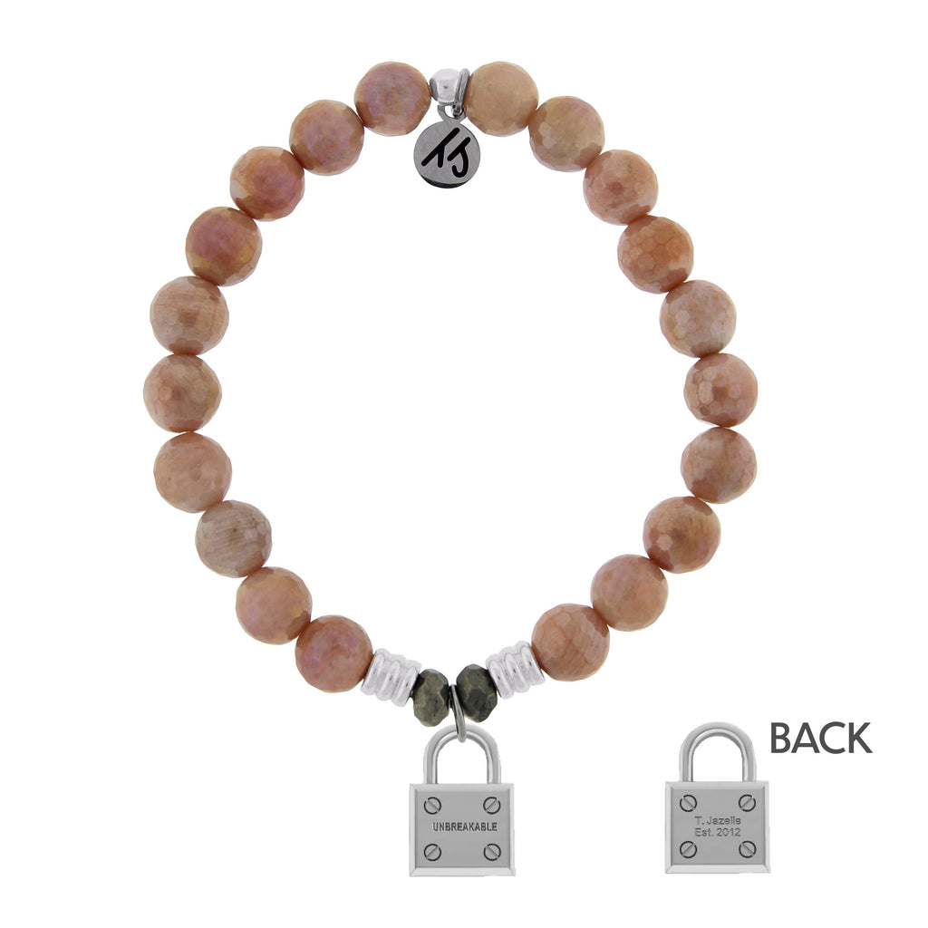 Orange Moonstone Stone Bracelet with Unbreakable Sterling Silver Charm
