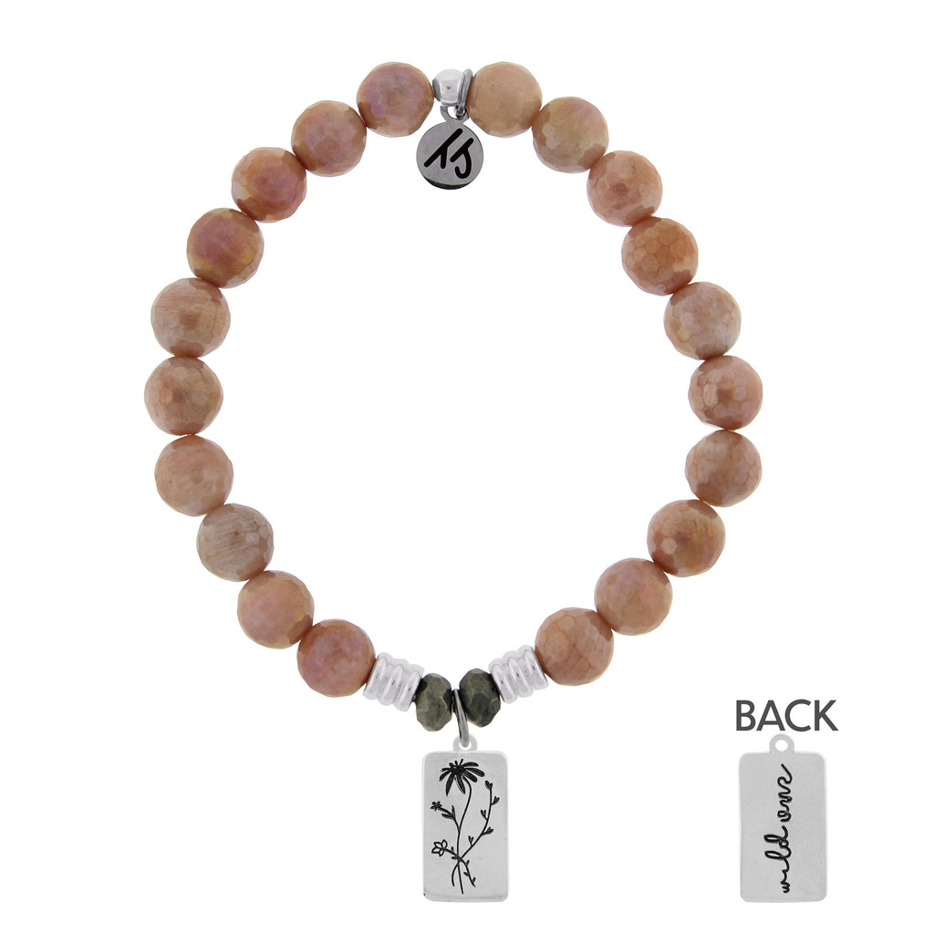 Orange Moonstone Stone Bracelet with Wild One Sterling Silver Charm