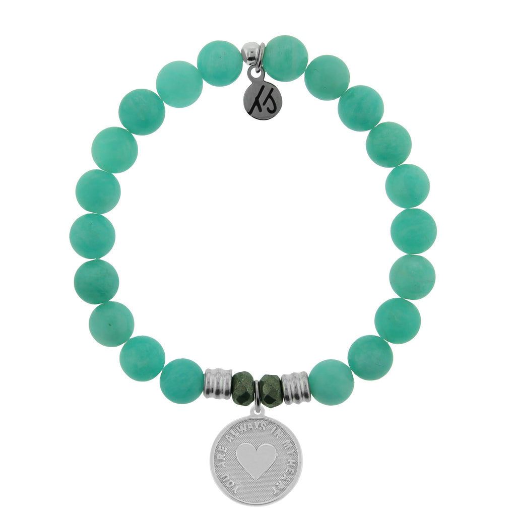 Peruvian Amazonite Stone Bracelet with Always in my Heart Sterling Silver Charm
