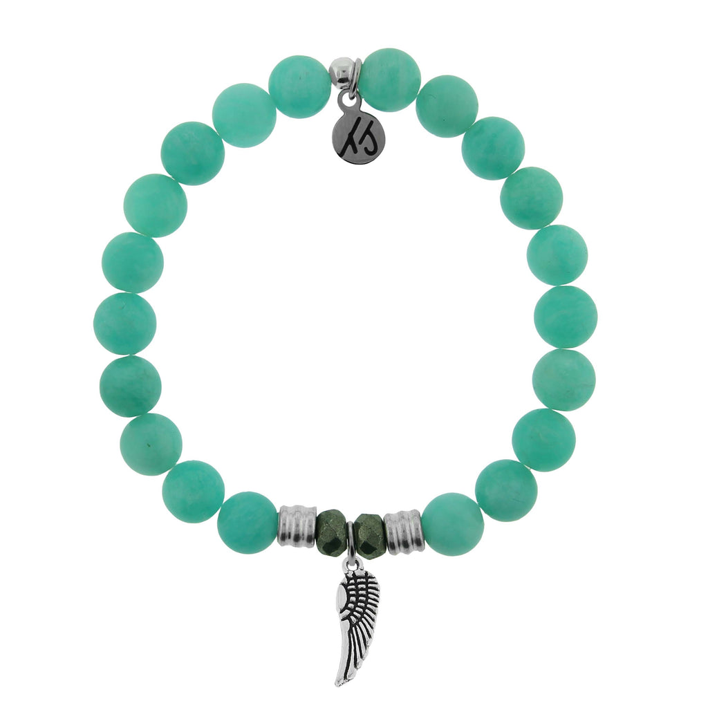 Peruvian Amazonite Stone Bracelet with Angel Wing Sterling Silver Charm