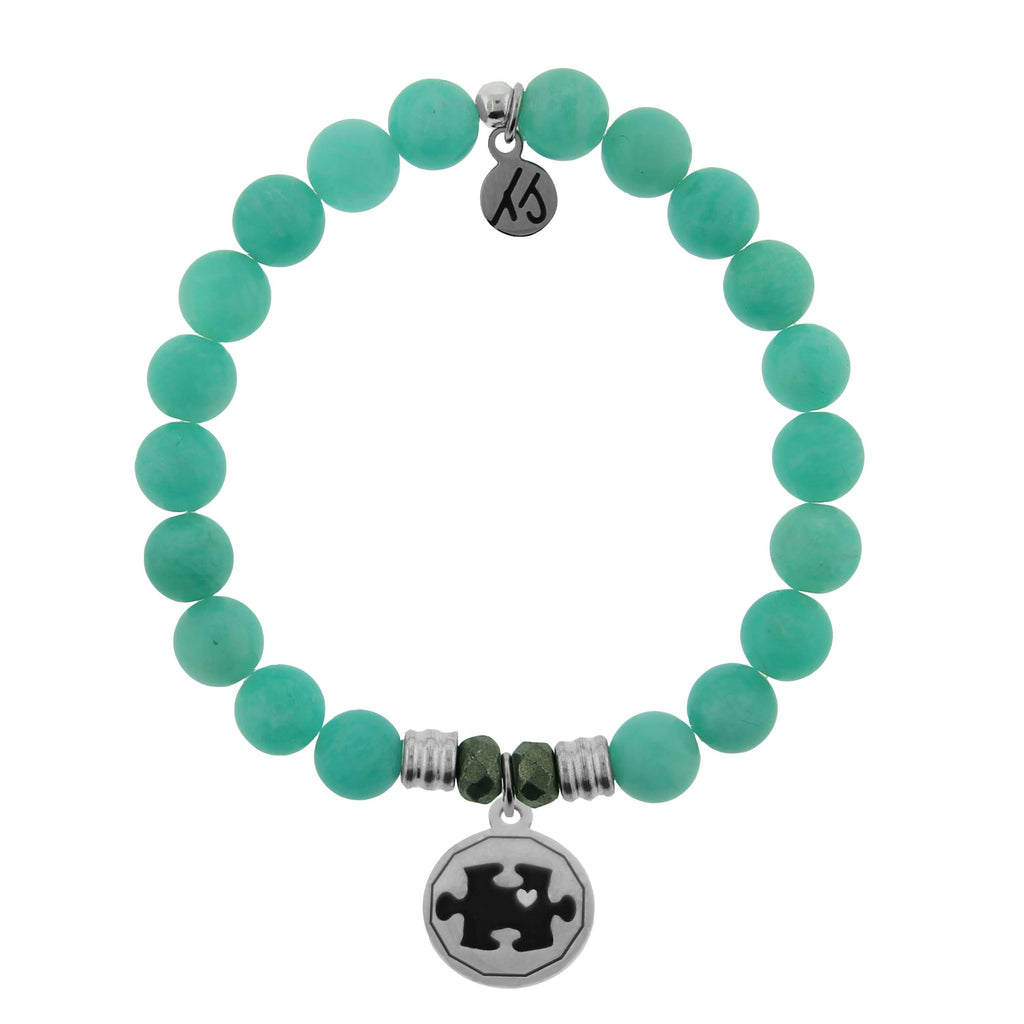 Peruvian Amazonite Stone Bracelet with Autism Awareness Sterling Silver Charm