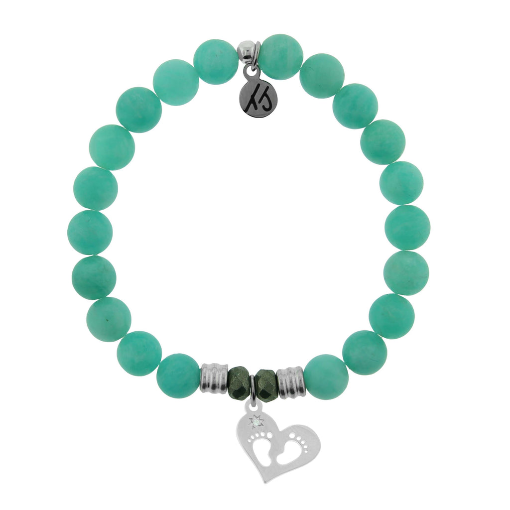Peruvian Amazonite Stone Bracelet with Baby Feet Sterling Silver Charm