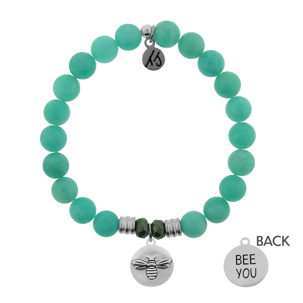 Peruvian Amazonite Stone Bracelet with Bee You Sterling Silver Charm