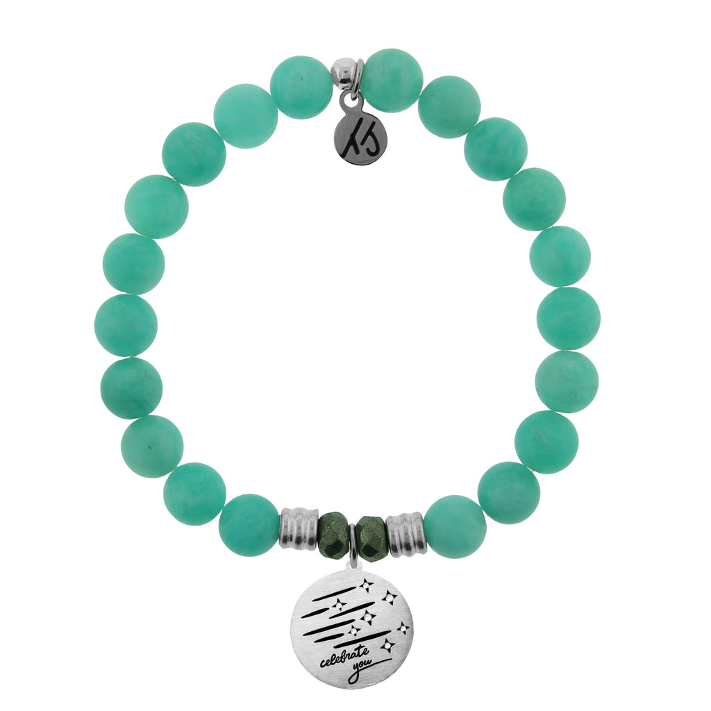 Peruvian Amazonite Stone Bracelet with Birthday Wishes Sterling Silver Charm