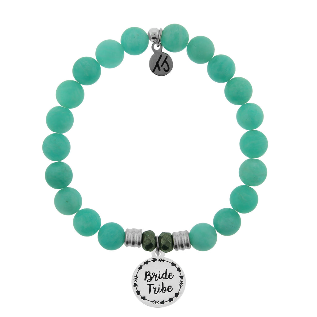 Peruvian Amazonite Stone Bracelet with Bride Tribe Sterling Silver Charm
