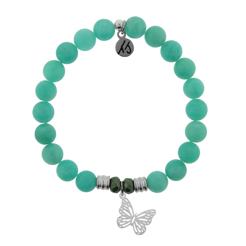 Peruvian Amazonite Stone Bracelet with Butterfly Sterling Silver Charm