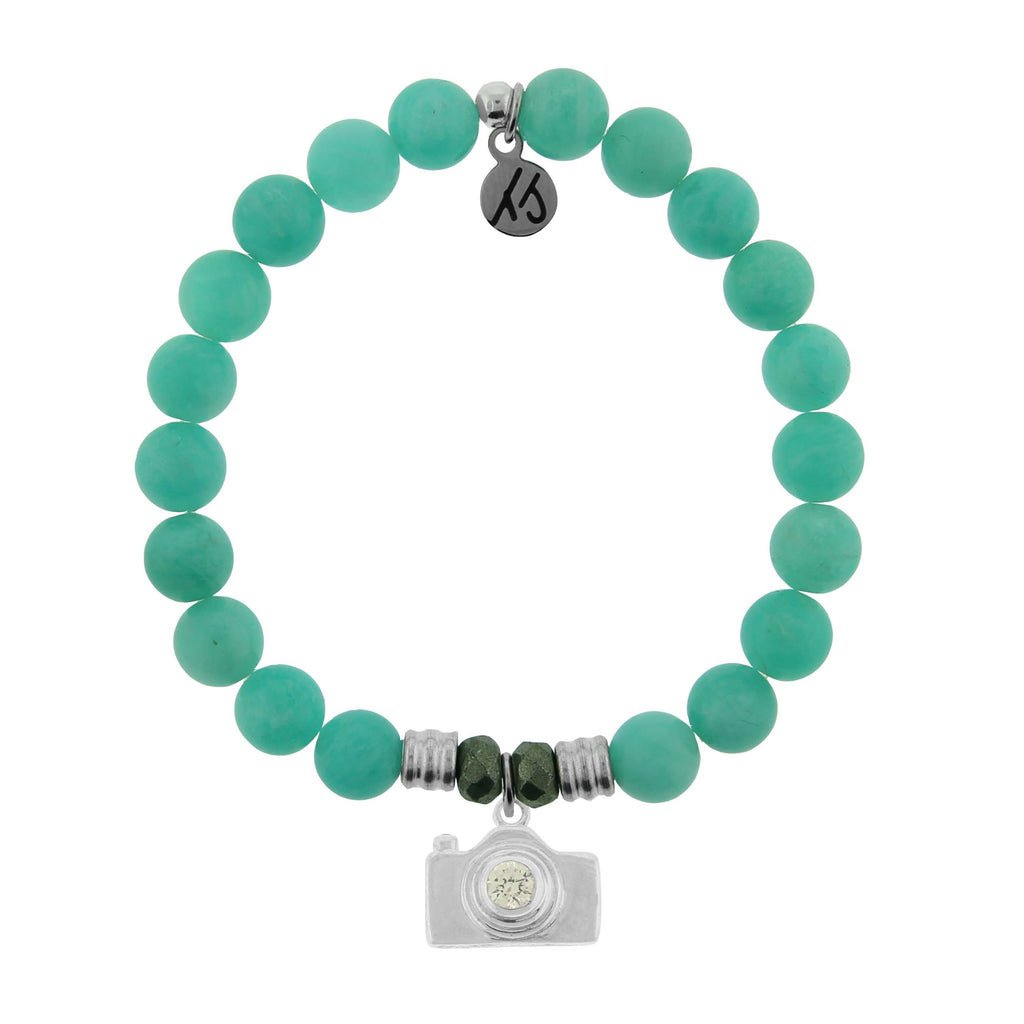 Peruvian Amazonite Stone Bracelet with Camera Sterling Silver Charm