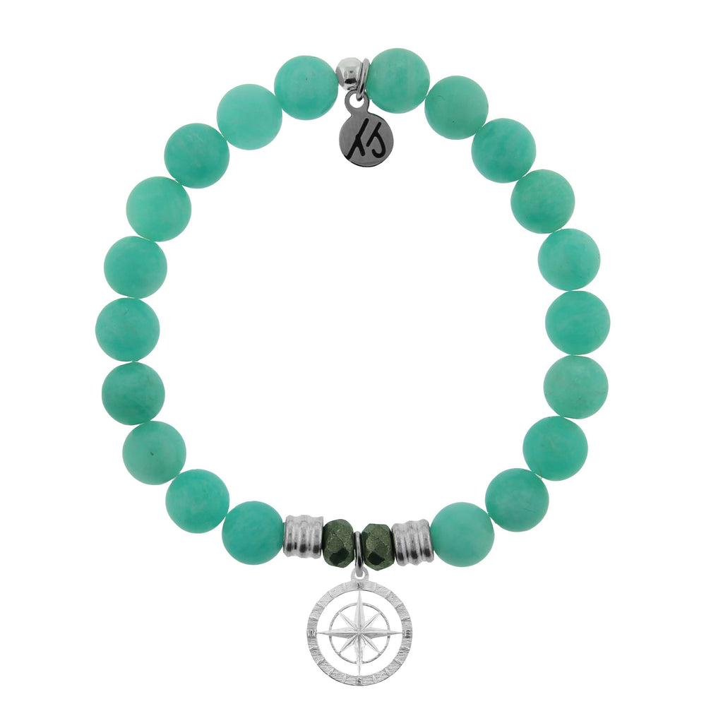 Peruvian Amazonite Stone Bracelet with Compass Rose Sterling Silver Charm