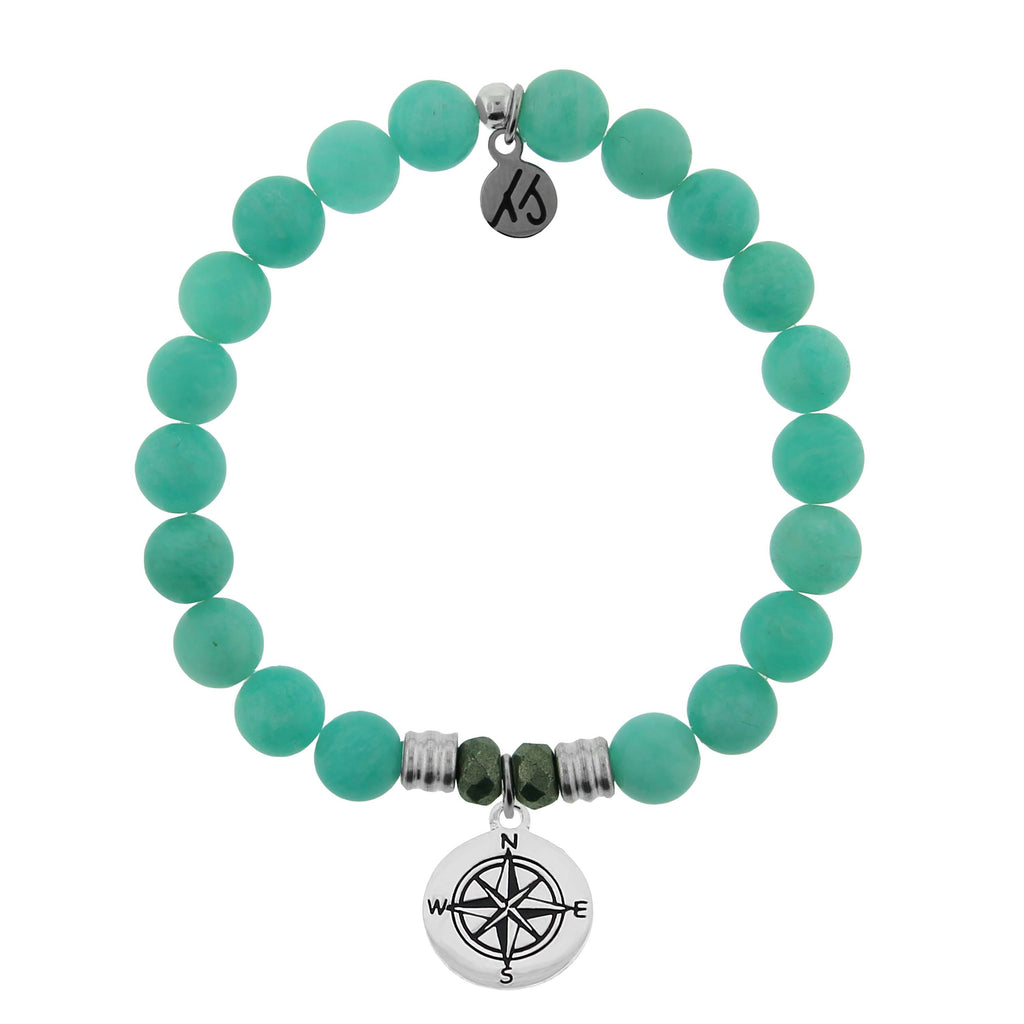 Peruvian Amazonite Stone Bracelet with Compass Sterling Silver Charm
