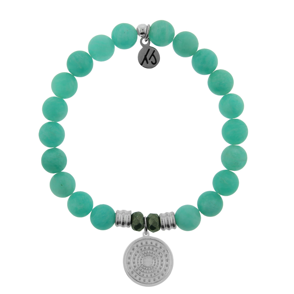 Peruvian Amazonite Stone Bracelet with Family Circle Sterling Silver Charm