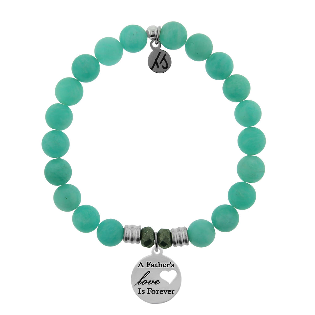 Peruvian Amazonite Stone Bracelet with Fathers Love Sterling Silver Charm