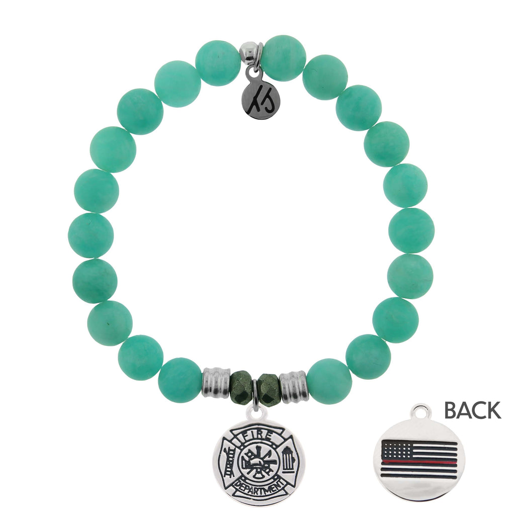 Peruvian Amazonite Stone Bracelet with Firefighter Sterling Silver Charm