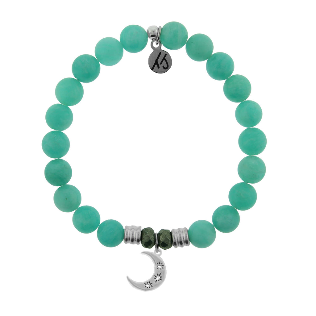 Peruvian Amazonite Stone Bracelet with Friendship Stars Sterling Silver Charm