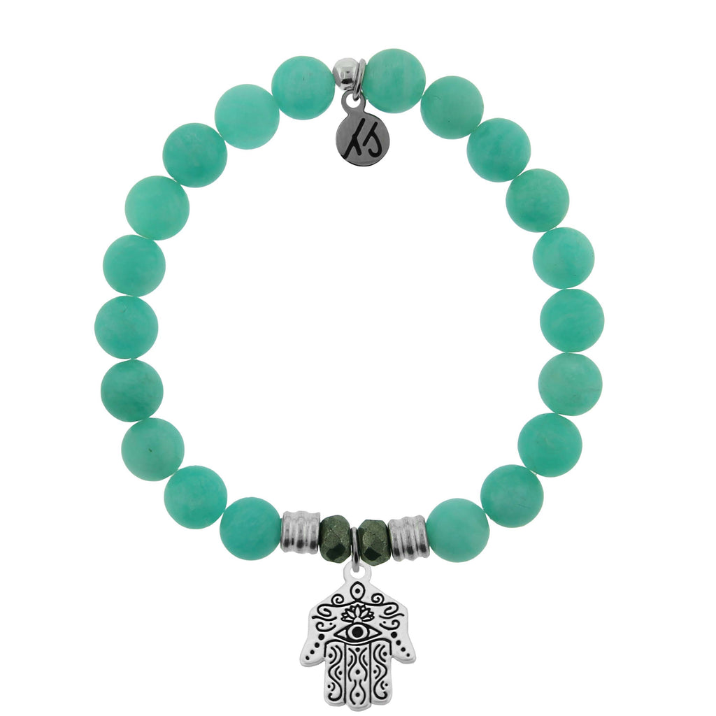 Peruvian Amazonite Stone Bracelet with Hand of God Sterling Silver Charm