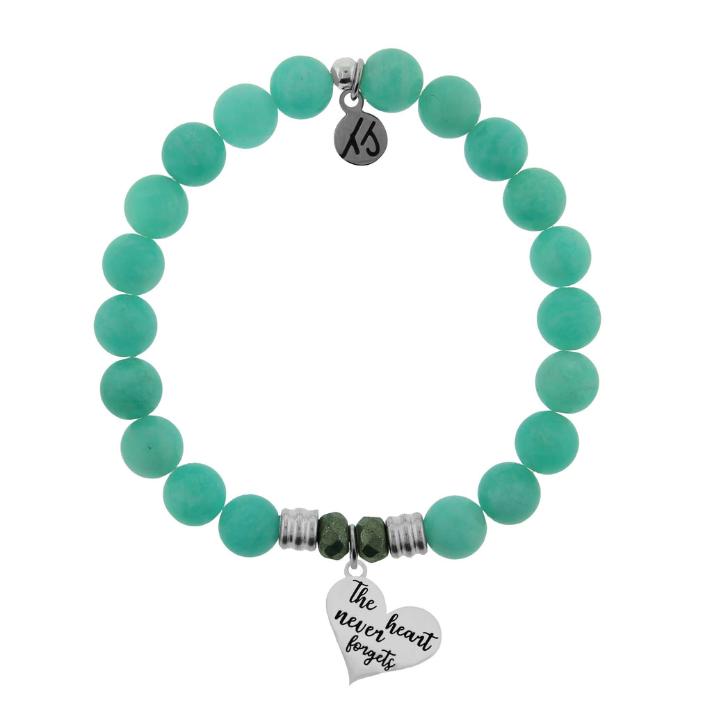 Peruvian Amazonite Stone Bracelet with Heart Never Forgets Sterling Silver Charm