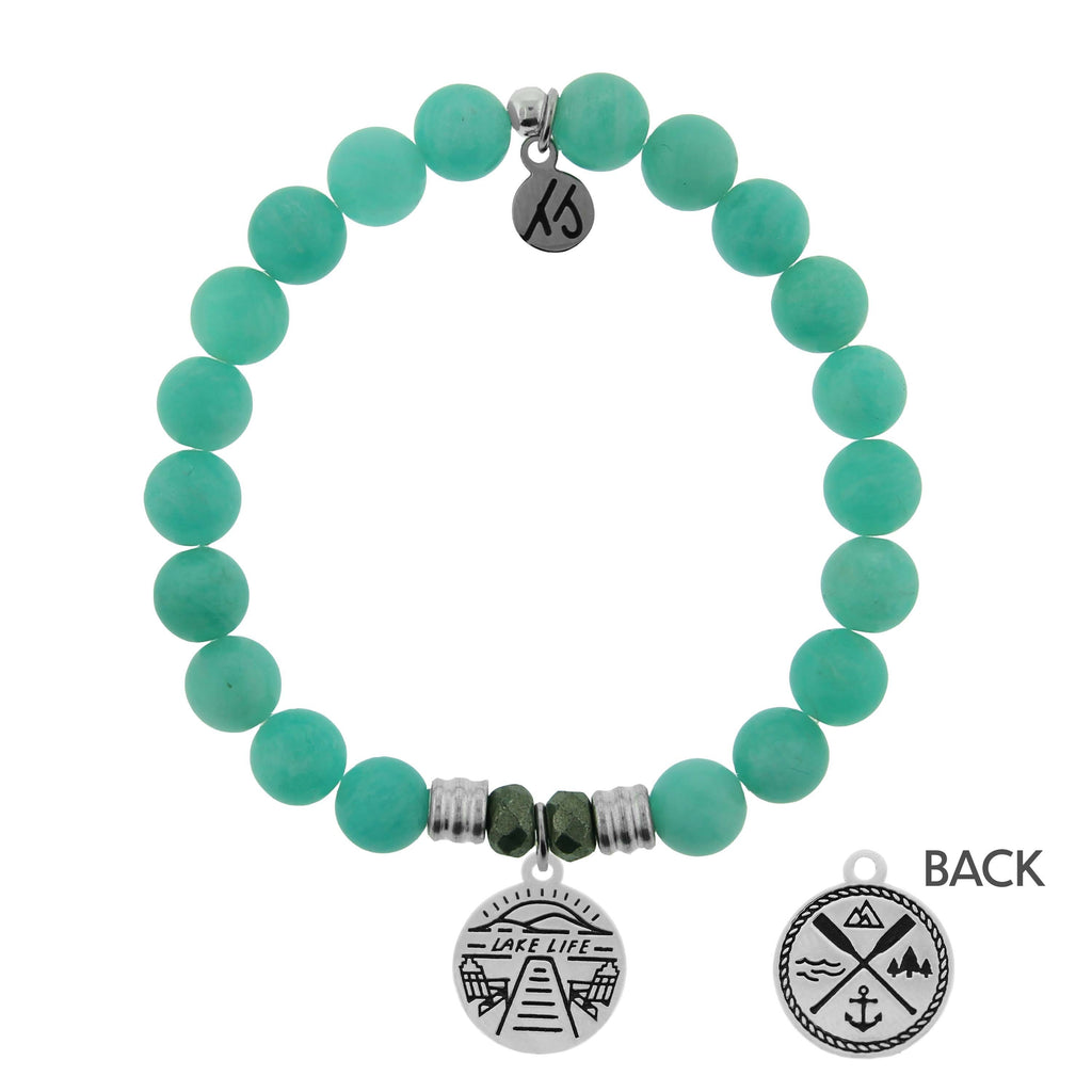 Peruvian Amazonite Stone Bracelet with Lake Life Sterling Silver Charm