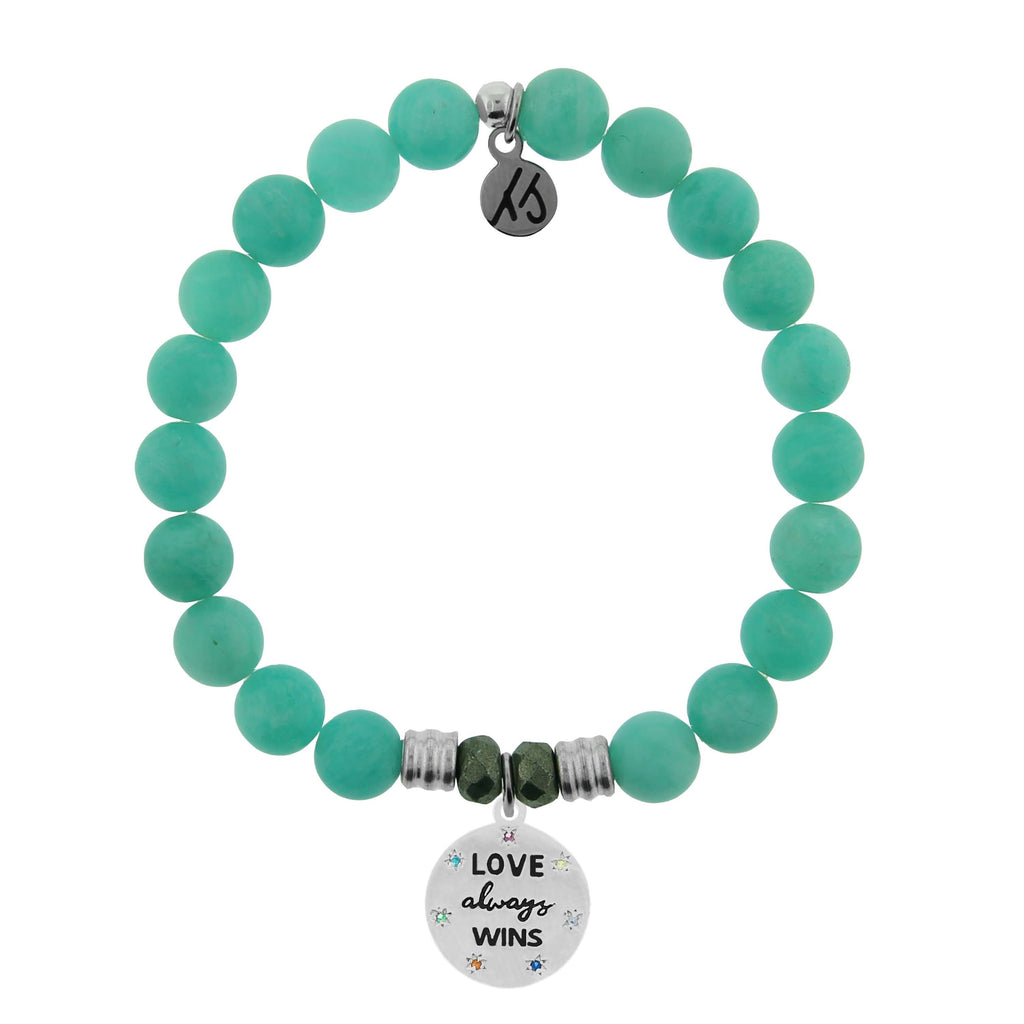 Peruvian Amazonite Stone Bracelet with Love Always Wins Sterling Silver Charm