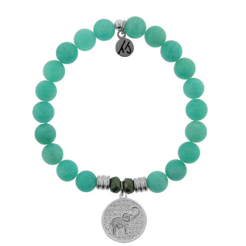 Peruvian Amazonite Stone Bracelet with New Lucky Elephant Sterling Silver Charm