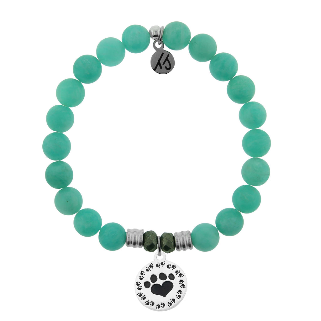Peruvian Amazonite Stone Bracelet with Paw Print Sterling Silver Charm