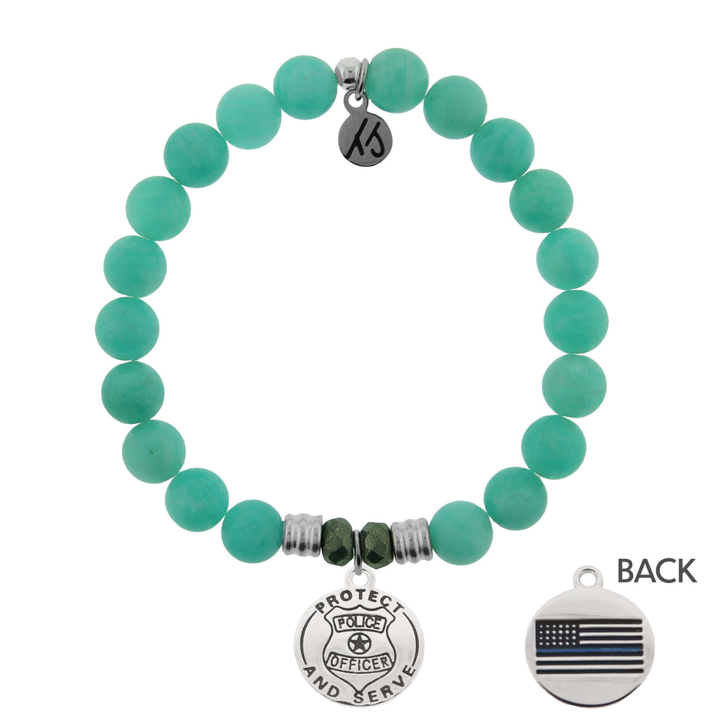 Peruvian Amazonite Stone Bracelet with Police Sterling Silver Charm