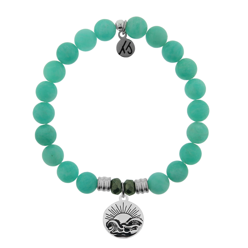 Peruvian Amazonite Stone Bracelet with Rising Sun Sterling Silver Charm