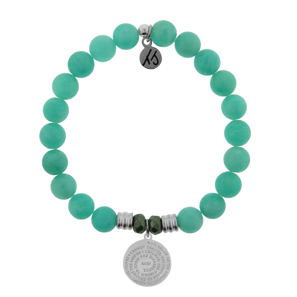 Peruvian Amazonite Stone Bracelet with Serenity Prayer Sterling Silver Charm