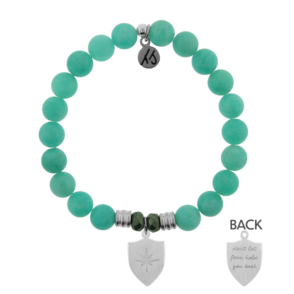 Peruvian Amazonite Stone Bracelet with Shield of Strength Sterling Silver Charm