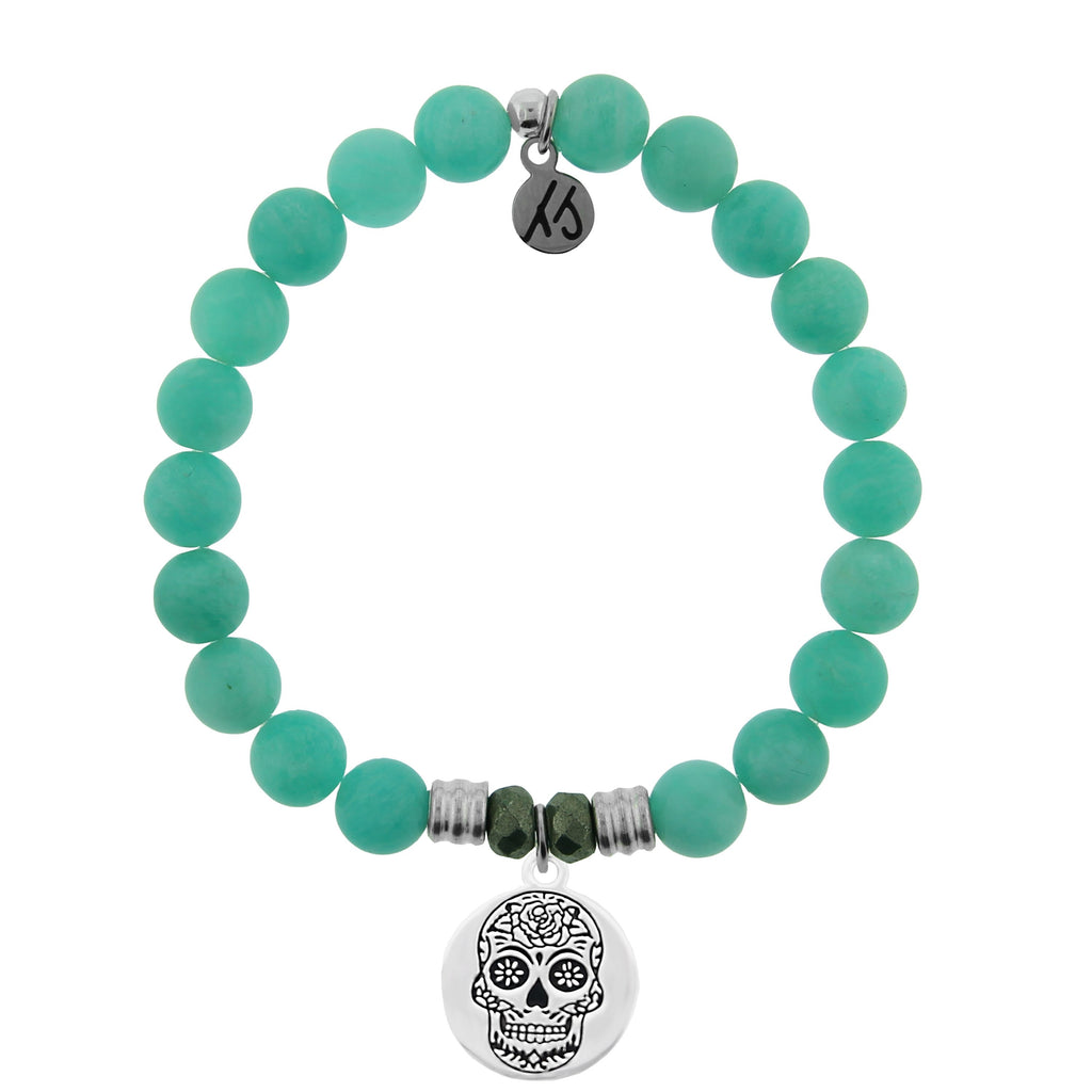 Peruvian Amazonite Stone Bracelet with Sugar Skull Sterling Silver Charm