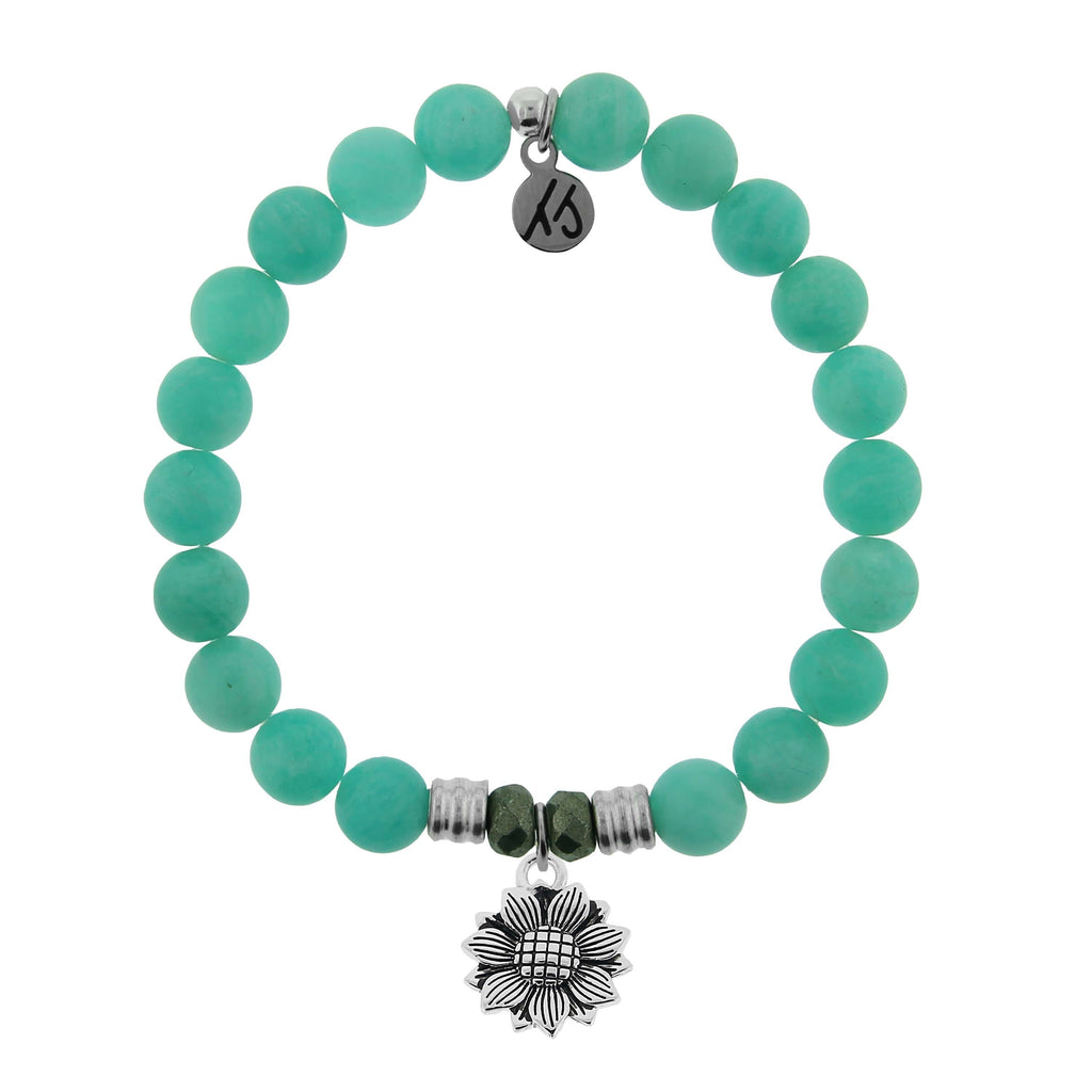 Peruvian Amazonite Stone Bracelet with Sunflower Sterling Silver Charm