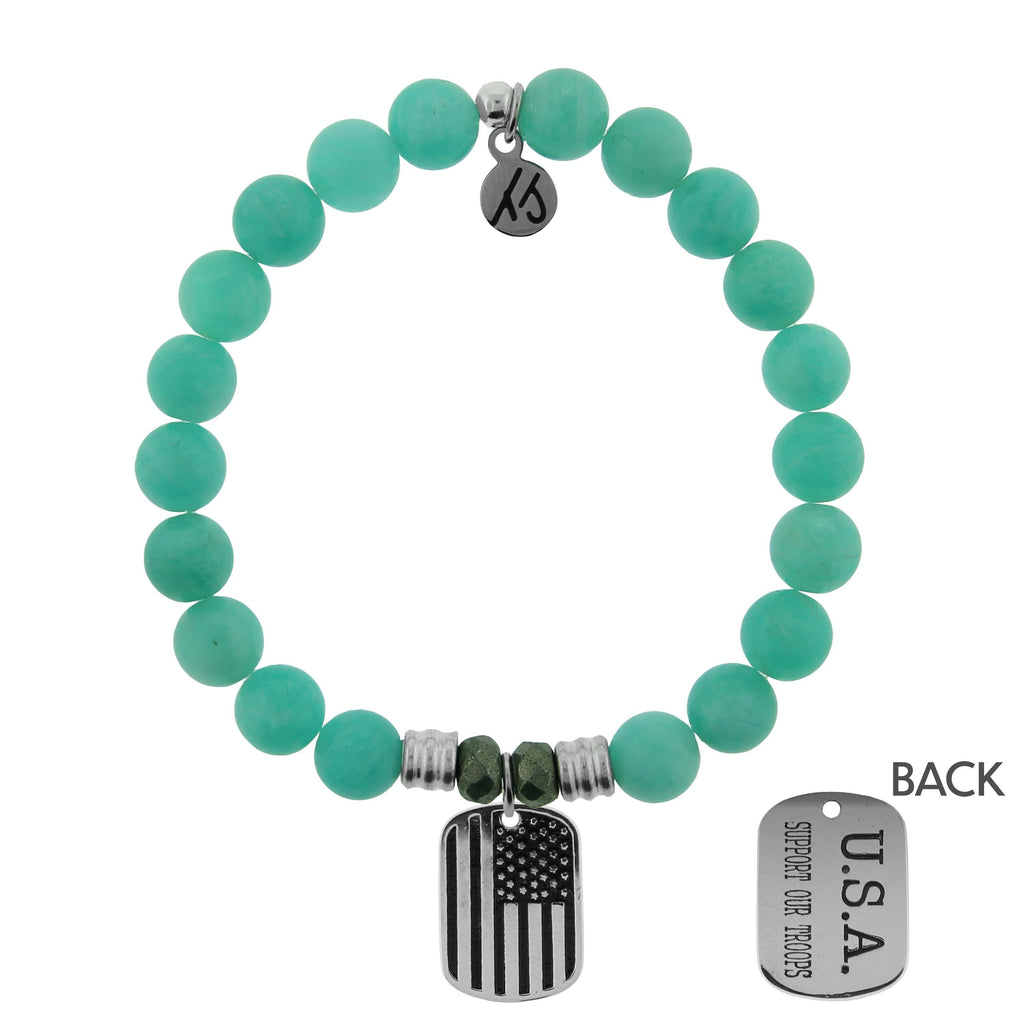 Peruvian Amazonite Stone Bracelet with Support Our Troops Sterling Silver Charm