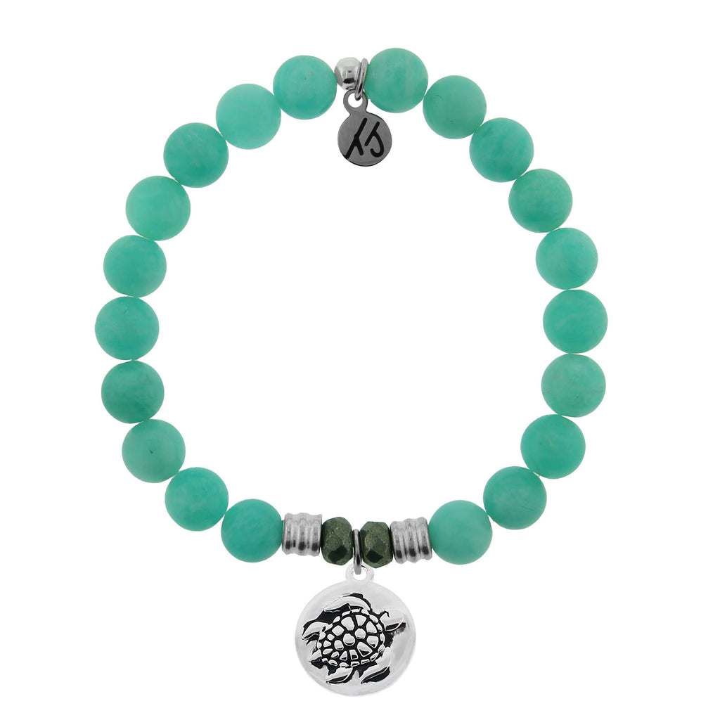 Peruvian Amazonite Stone Bracelet with Turtle Sterling Silver Charm