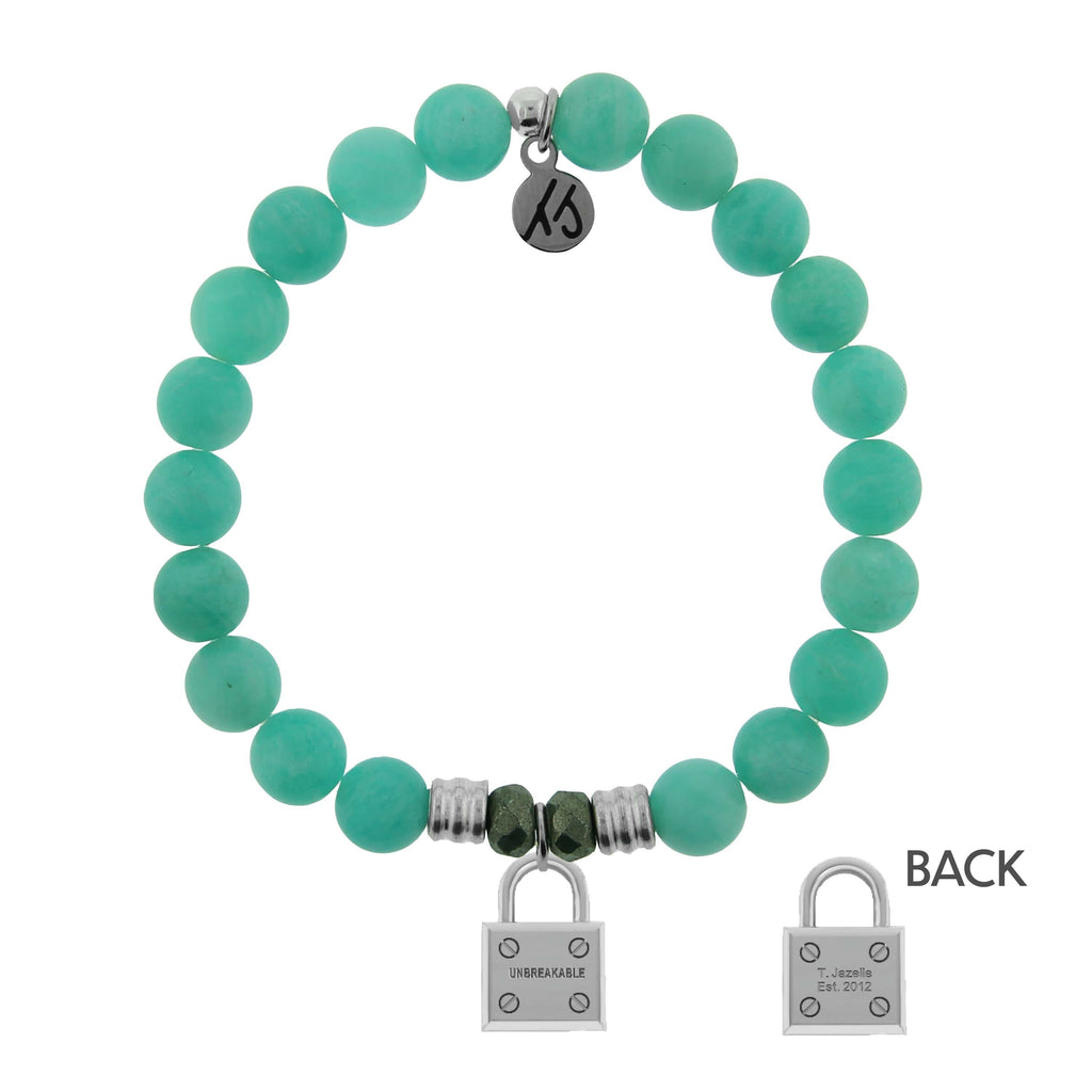 Peruvian Amazonite Stone Bracelet with Unbreakable Sterling Silver Charm