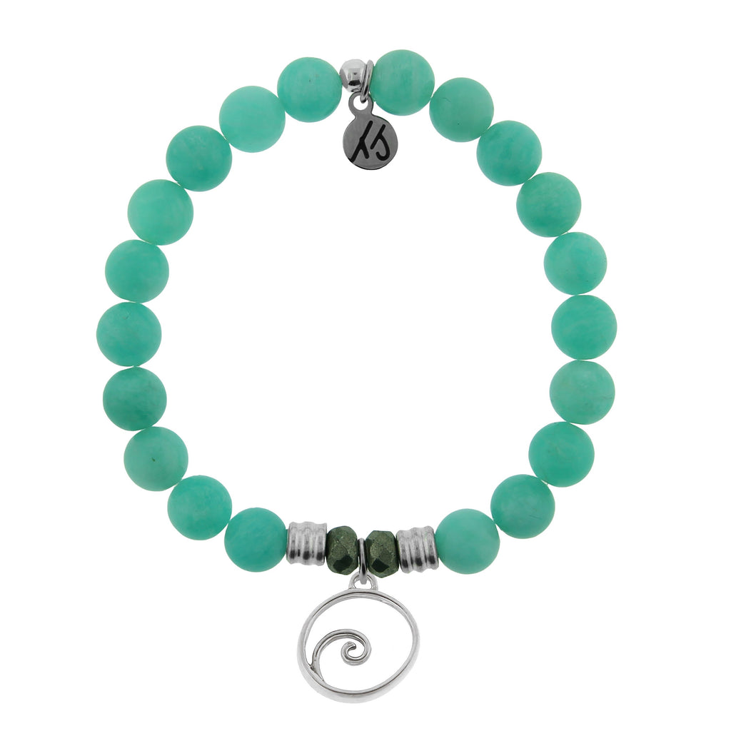 Peruvian Amazonite Stone Bracelet with Wave Sterling Silver Charm