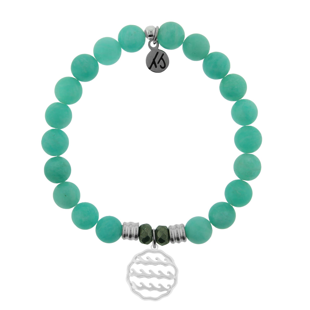 Peruvian Amazonite Stone Bracelet with Waves of Life Sterling Silver Charm