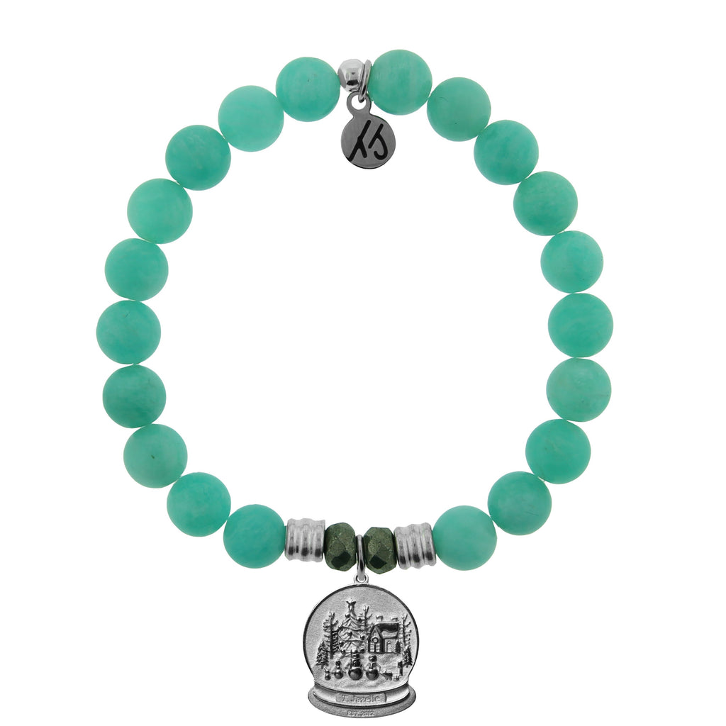 Peruvian Amazonite Stone Bracelet with Winter Wonderland Sterling Silver Charm