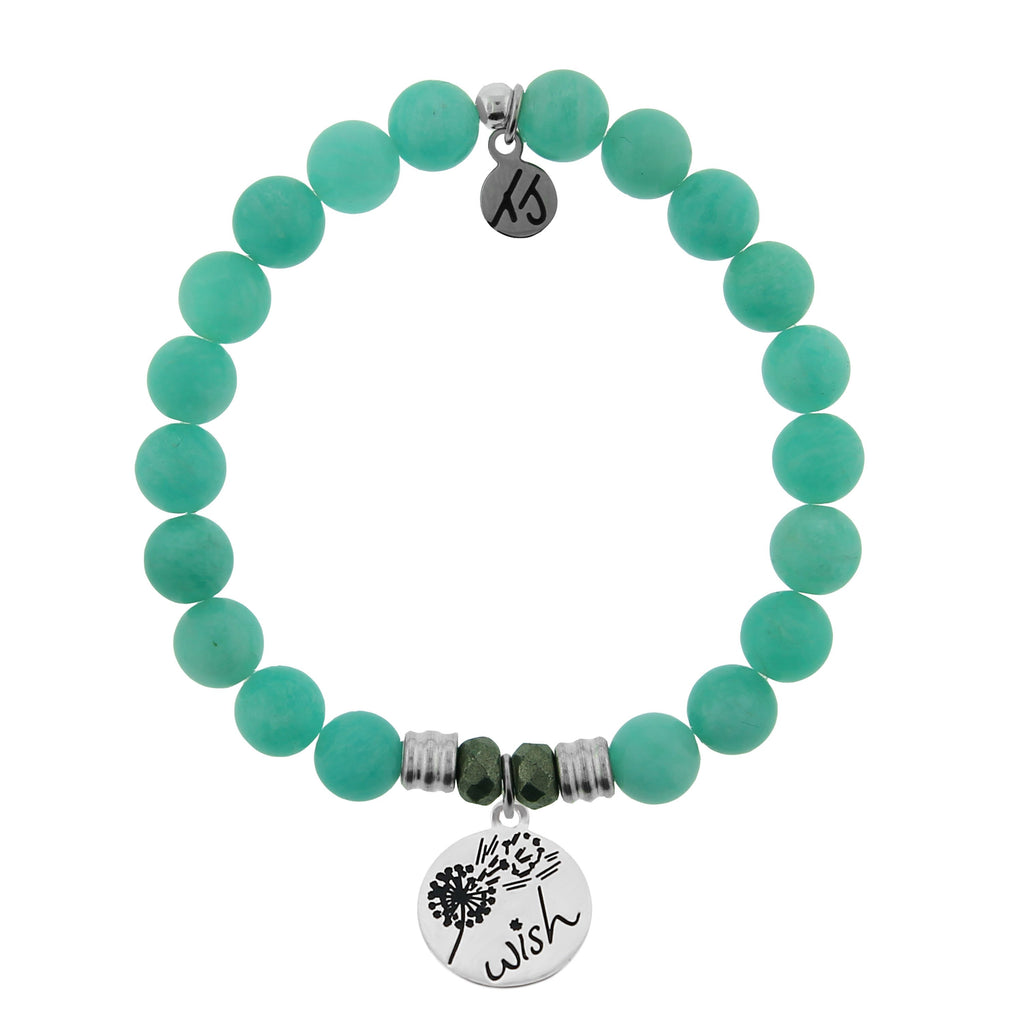 Peruvian Amazonite Stone Bracelet with Wish Sterling Silver Charm