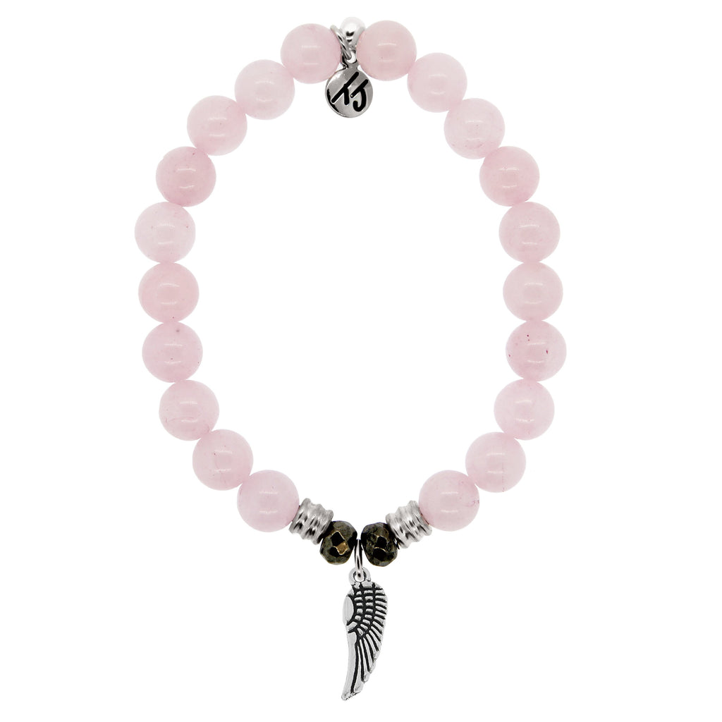 Rose Quartz Stone Bracelet with Angel Wing Sterling Silver Charm