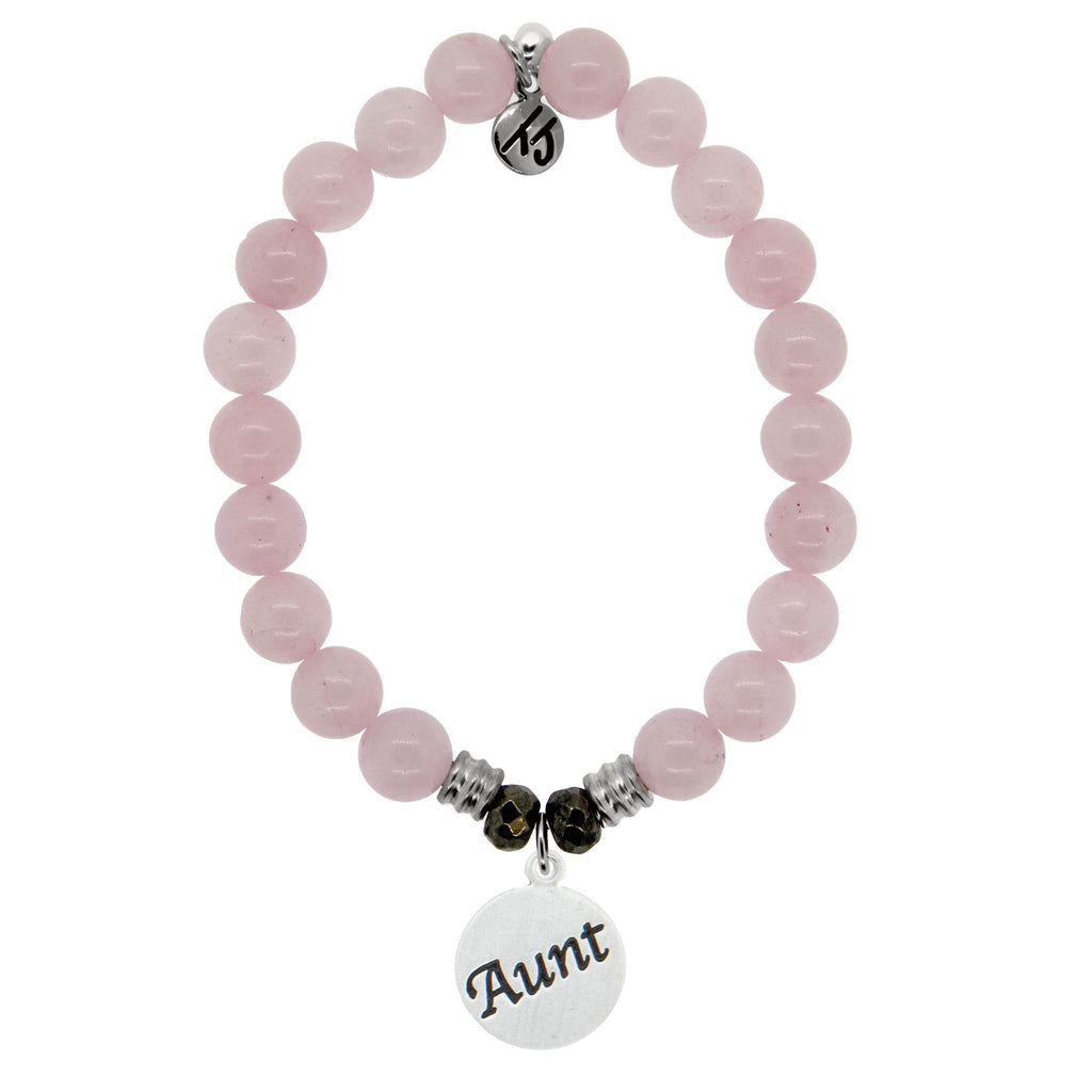 Rose Quartz Stone Bracelet with Aunt Endless Love Sterling Silver Charm
