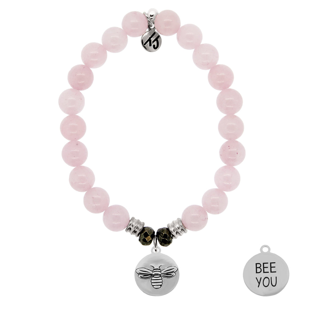 Rose Quartz Stone Bracelet with Bee You Sterling Silver Charm