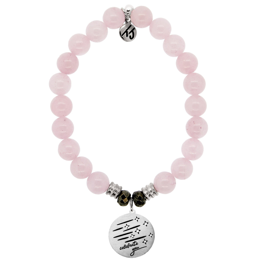 Rose Quartz Stone Bracelet with Birthday Wishes Sterling Silver Charm