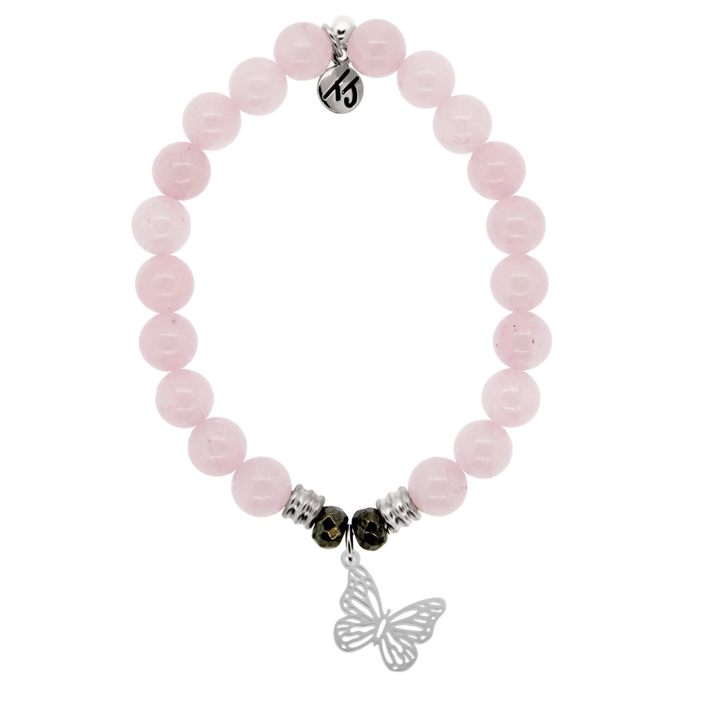 Rose Quartz Stone Bracelet with Butterfly Sterling Silver Charm