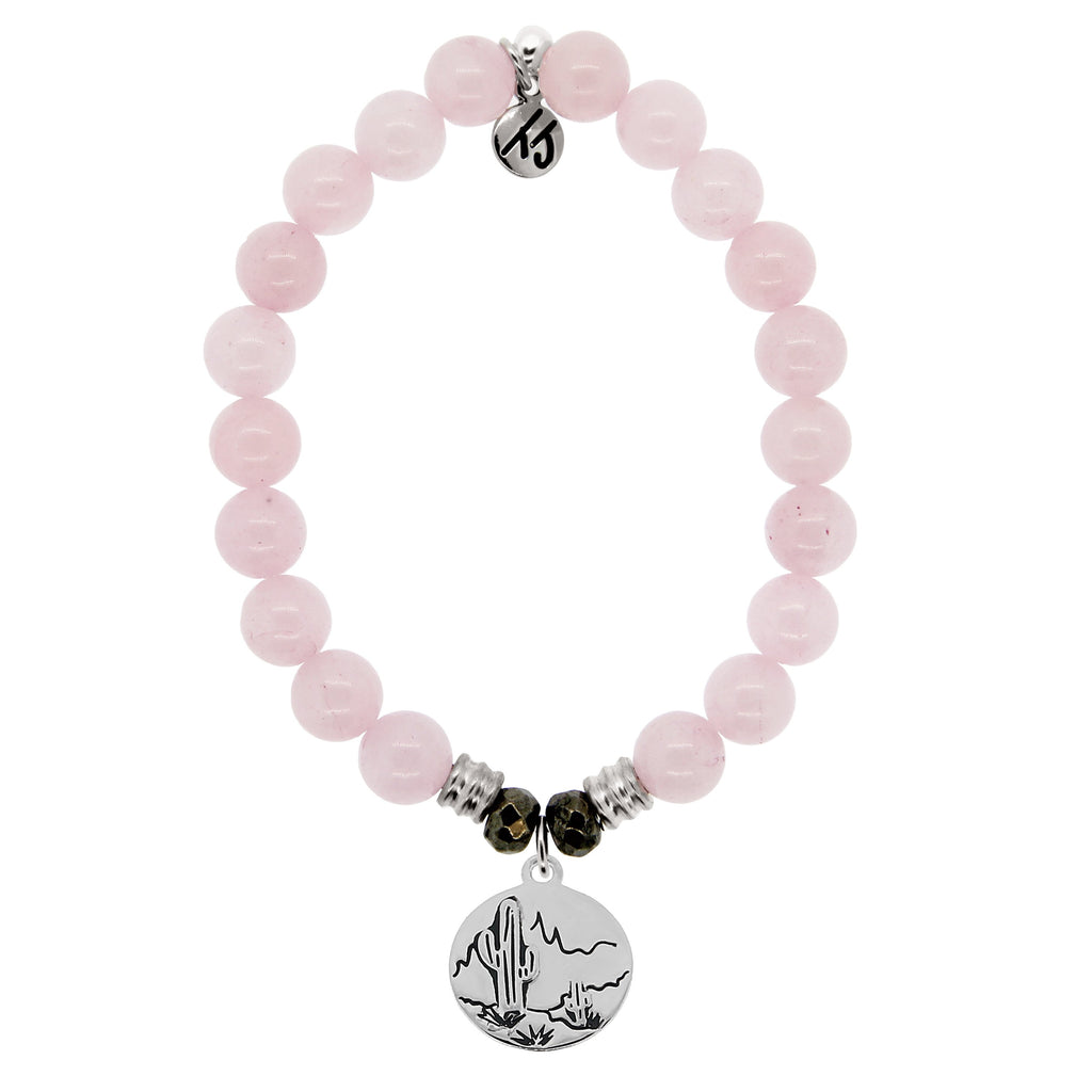 Rose Quartz Stone Bracelet with Cactus Sterling Silver Charm