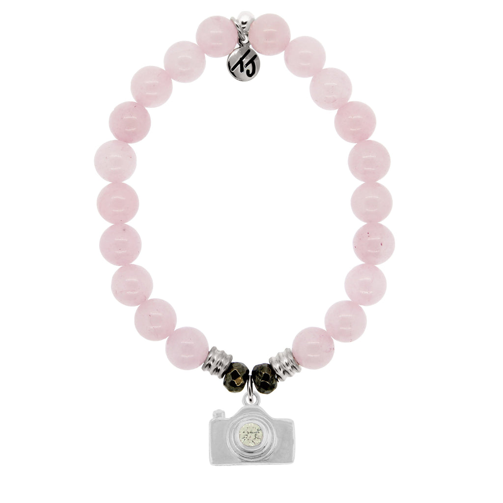 Rose Quartz Stone Bracelet with Camera Sterling Silver Charm
