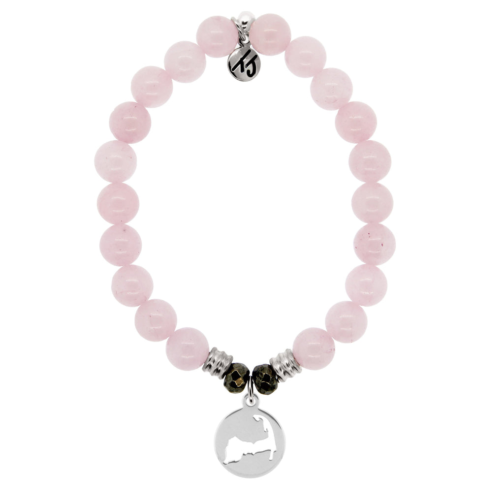 Rose Quartz Stone Bracelet with Cape Cod Cutout Sterling Silver Charm