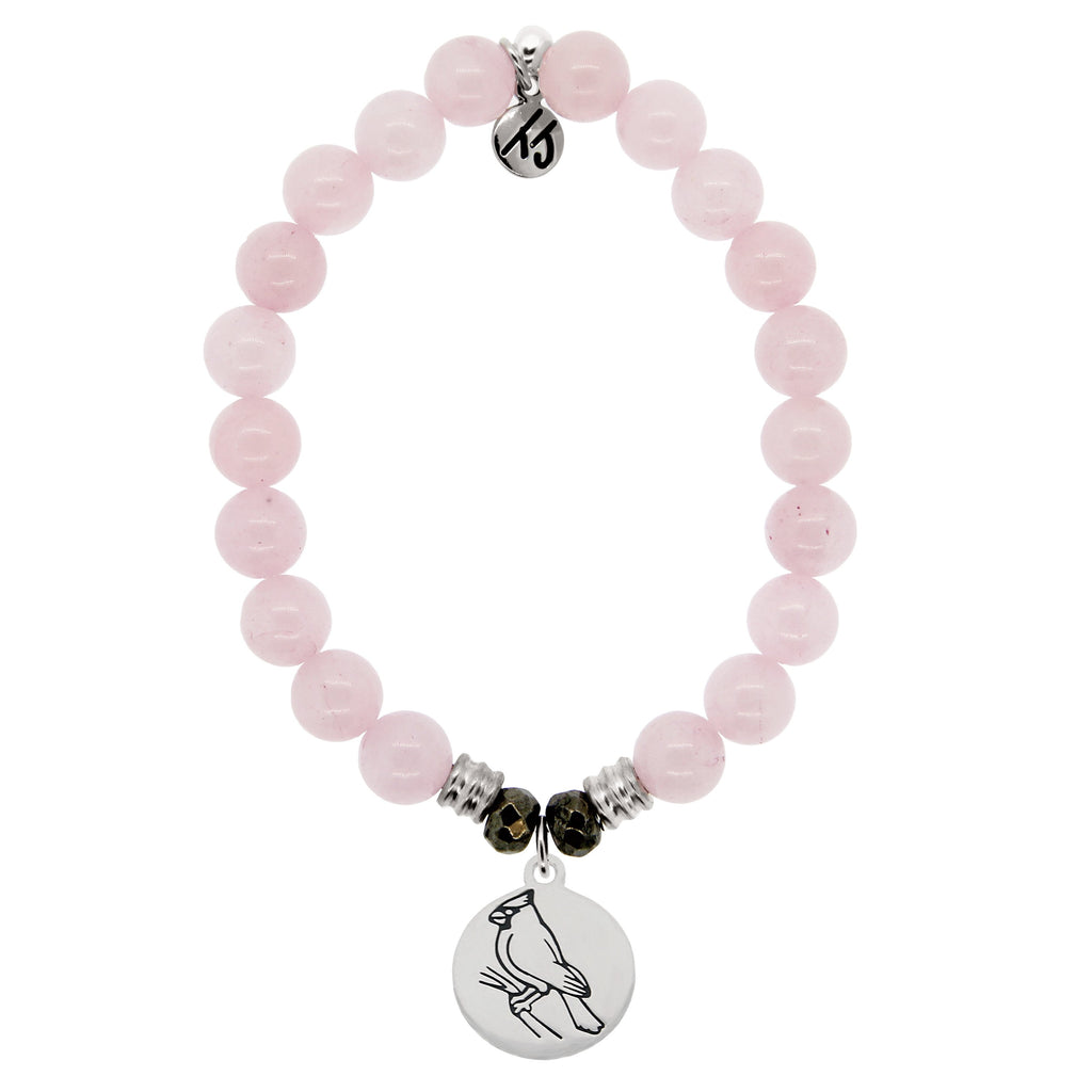 Rose Quartz Stone Bracelet with Cardinal Sterling Silver Charm