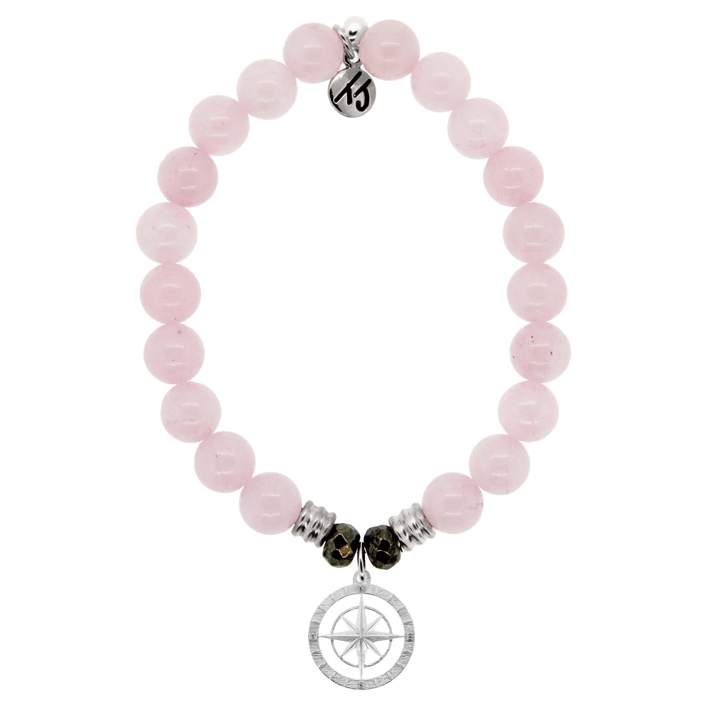 Rose Quartz Stone Bracelet with Compass Rose Sterling Silver Charm