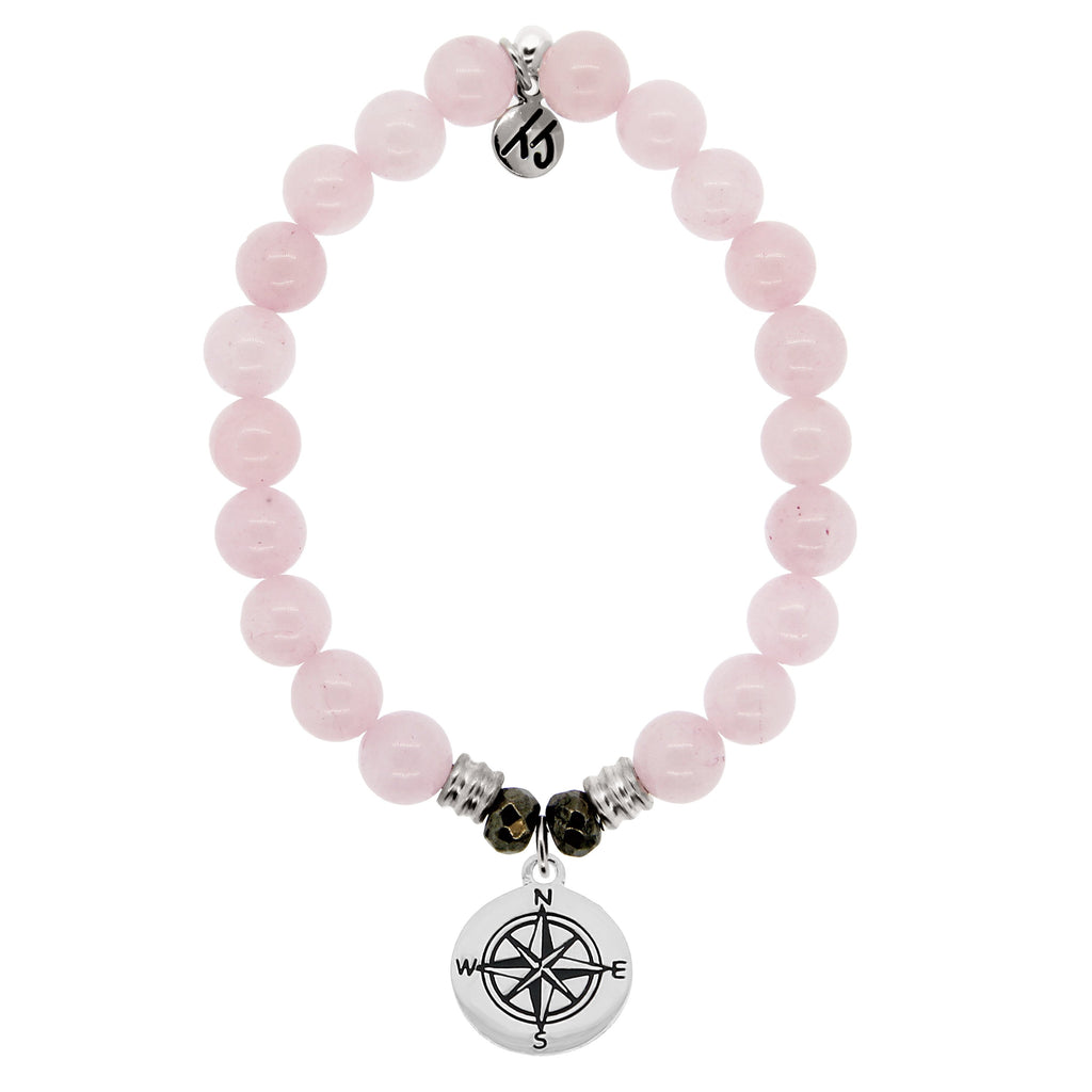 Rose Quartz Stone Bracelet with Compass Sterling Silver Charm
